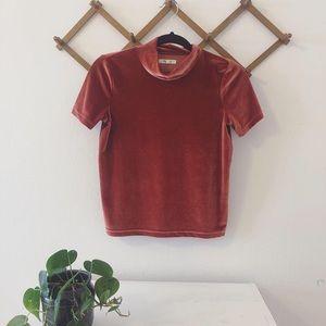 {Madewell} Orangey-red velvet t shirt